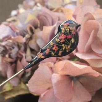 Булавка на лацкан с цветами Брошь птица