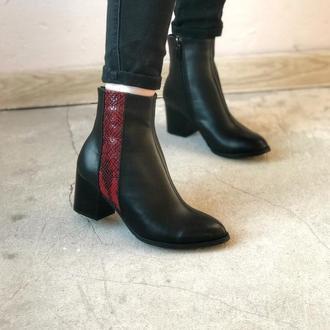 Ботильоны ботинки из натуральной кожи, питон