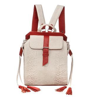 Женский кожаный белый вязаный рюкзак