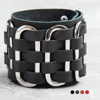 Крупный черный кожаный браслет, массивный с металлом кожаный браслет код 2028