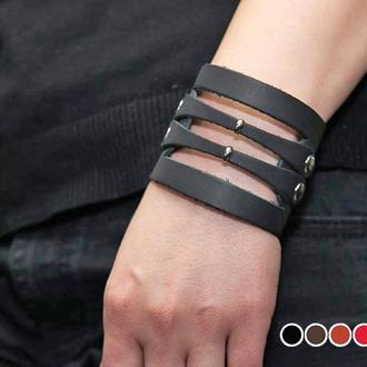 Байкерский черный кожаный браслет, уникальный внешний вид и эксклюзивность код 3040