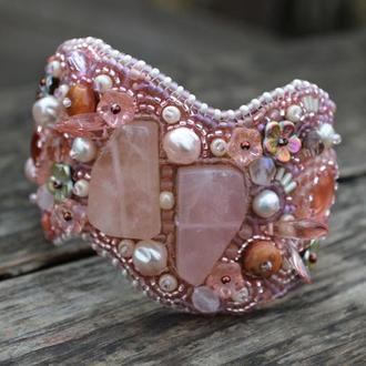 Вишитий бісером браслет з рожевим кварцем, Широкий браслет, Рожевий браслет