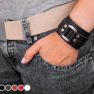 Чорний шкіряний браслет зі вставкою м'якого прямокутника код 3130