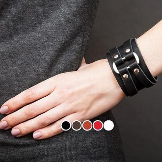 Черный кожаный браслет с овальной вставкой код 3132