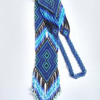 Синий гердан из бисера Длинный гердан синего цвета Купить длинное украшение Гердан на подарок Гердан