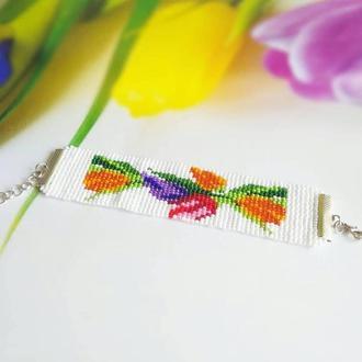 Браслет Тюльпан, необычный подарок, необычное украшение из бисера Лучший подарок