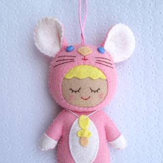 авторская игрушка - малыш мышка розовая