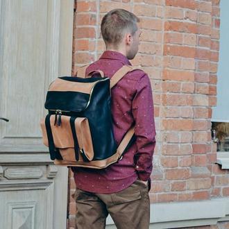 Мужской кожаный рюкзак, Черный городской рюкзак