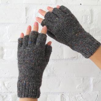 Темно серые вязаные перчатки без пальцев, твидовые женские митенки графитового цвета