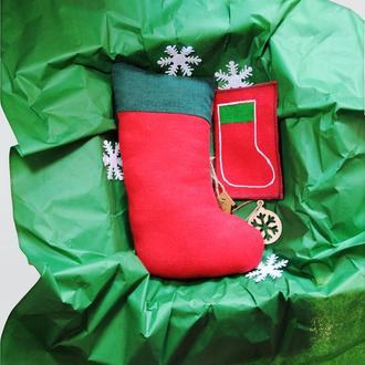 Новогодний носок Рождественский подарок Игрушка сувенир для подарка и декора на Новый год