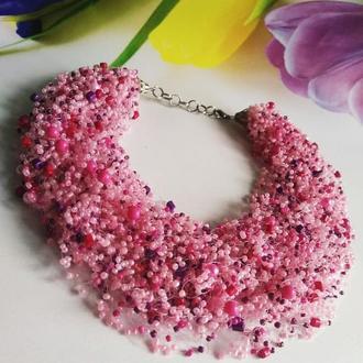 Воздушное колье Розовое колье Купить на подарок Пышное яркое колье Кораловое колье купить Украина