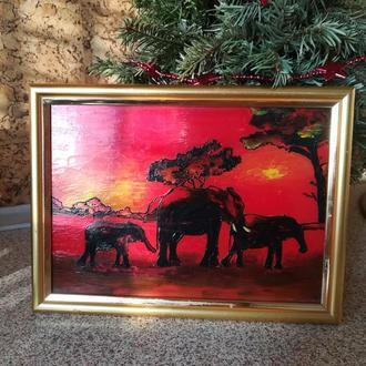 Саванна. Слоны