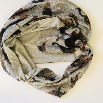 Теплый шарф ,,Эдинбург,, шарф снуд, шарф бактус, зимний женский шарф, большой женский шарф