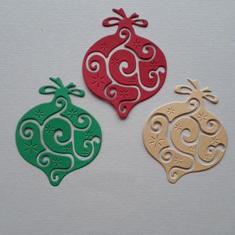 Вырубка Новогодний шар №6,декор для скрапбукинга