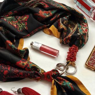 """Атласный  платок """"Этника,, , атласный платок, шарф-колье, шарф-чокер, шейный платок"""