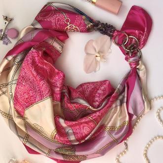 """""""Весенние переливы"""" атласный шарф, атласный платок, шарф-колье, шарф-чокер, шейный платок"""