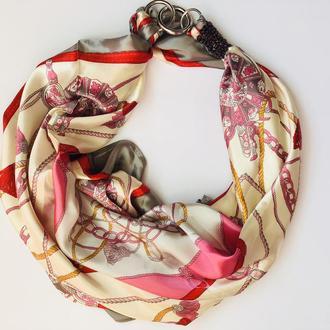 """""""Розовый каприз"""" атласный шарф, атласный платок, шарф-колье, шарф-чокер, шейный платок"""