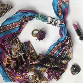 """""""Осенний блюз,,  атласный платок, шарф-колье, платок-ожерелье, подарок женщине"""