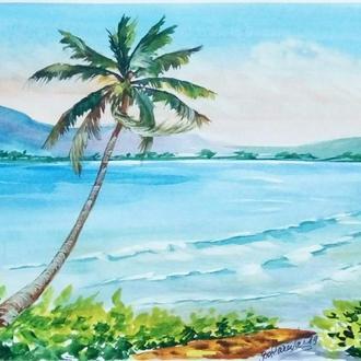 Картина акварелью. Гавайский пейзаж.