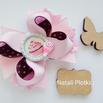 Бантик розовый с кексом
