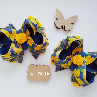 Бантики с 🌹 розами сине-желтыми