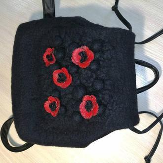 Рюкзак войлочный  чёрный