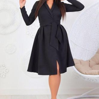 Платье на запах с шалевым воротником, цвет черный