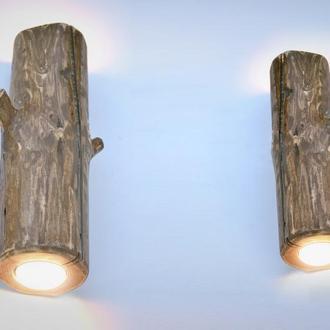 Набор настенных деревянных светильников, бра из дерева