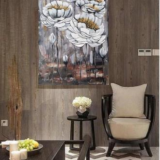 Картина «Белые цветы» 40*50 см холст, акрил