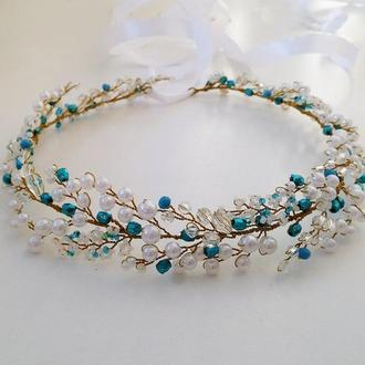 Бело-голубой веночек для волос  «нежность»