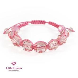 Рожевий браслет шамбала з кришталевих бусин