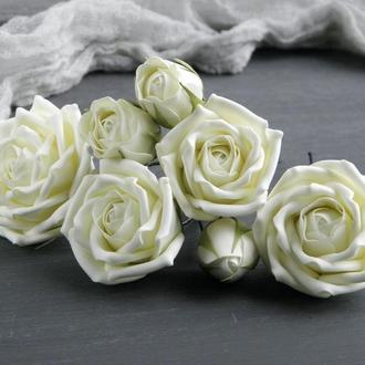 Набор шпилек с розами айвори