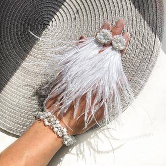 Набор украшений, серёжки из страусиного перья, браслет из кристаллов, серьги из перьев, сережки