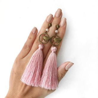Серёжки кисти, сережки кисточки, серьги с птичками, сережки китиці
