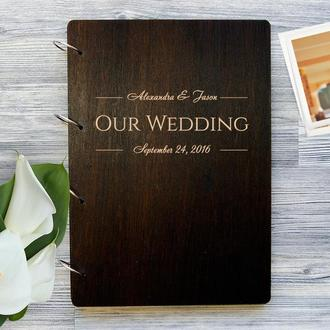 """Свадебный фотоальбом в деревянной обложке """"Our Wedding"""""""