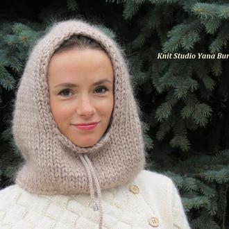 Теплый вязаный капюшон из мохера, капор зимний, пушистая шапка