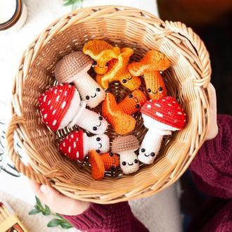Набор из 10 вязаных грибов , детские игрушки ,amigurumi