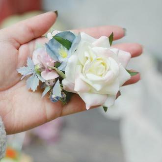 Заколка в волосы нежный розово-голубой