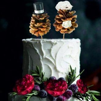 Топпер на свадебный торт / Топпер на свадьбу / Шишки на торт / Украшение свадебного торта / Рустик