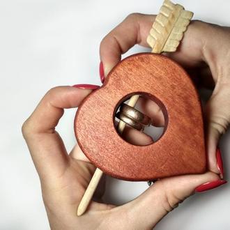 Свадебная шкатулка для обручальных колец. Шкатулка для помолвки. Коробочка для колец. Рустик. Сердце