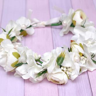 Свадебный венок веночек с цветами в цвете айвори