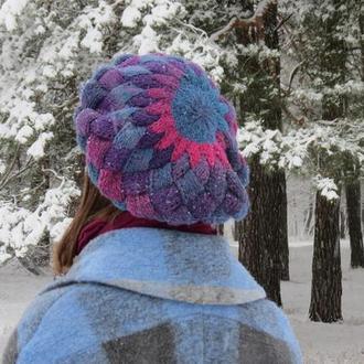 Берет вязаный шерстяной, теплый зимний берет под пальто, берет под шубу, синий розовый берет