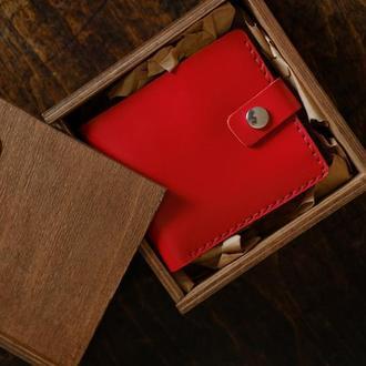 Кошелек с карманом для монет «Gazda Red» с именной гравировкой.