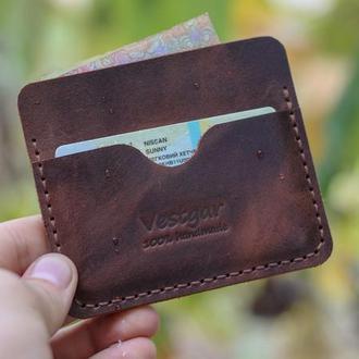 Мини-кошелек из итальянской кожи crazy horse
