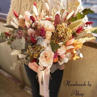 Свадебный букет из сухоцветов и стабилизированных цветов