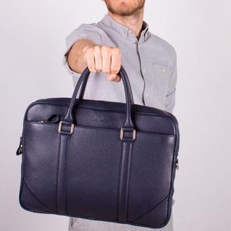 Синяя мужская кожаная сумка