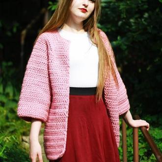 Розовый вязаный кардиган
