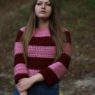 Укороченный зимний пуловер из толстой пряжи