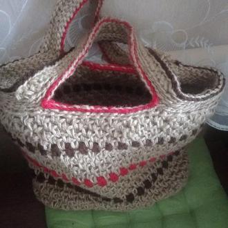Стильная сумка из джутовой нити
