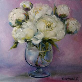 Картина маслом 20×20 см. живопись Букет белых пионов
